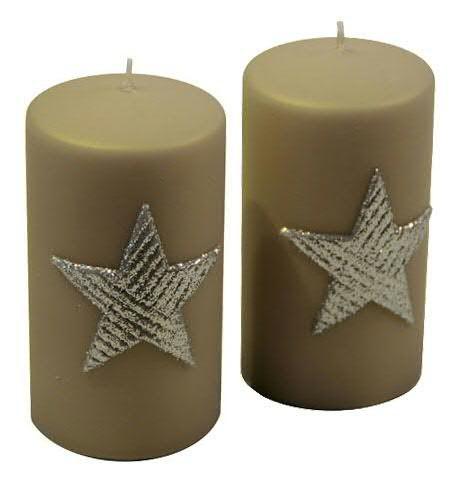 Stumpenkerzen Star sand-silber 130 x 70 mm - 2er Set