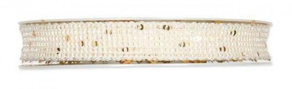 Band natur mit Pailletten 17 mm - 8 m drahtverstärkt