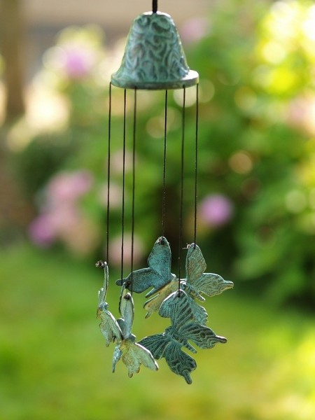 Windspiel aus Bronze | Schmetterlinge
