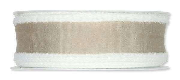 Band creme mit Plüschrand 40 mm - 15 m