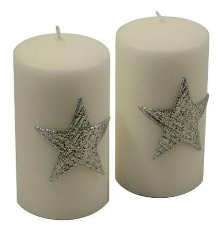 Stumpenkerzen Star weiß-silber 130 x 70 mm - 2er Set