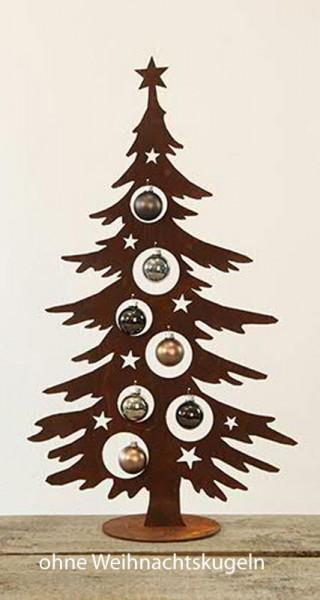 Rostmetall Weihnachtstanne mit Ausschnitten für Kugeln