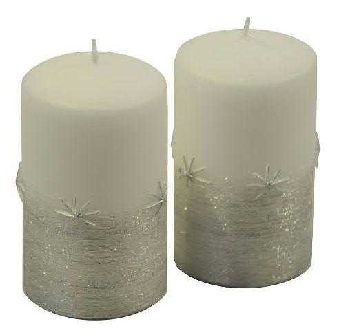 Stumpenkerzen Emira weiß-silber 100 x 60 mm - 2er Set