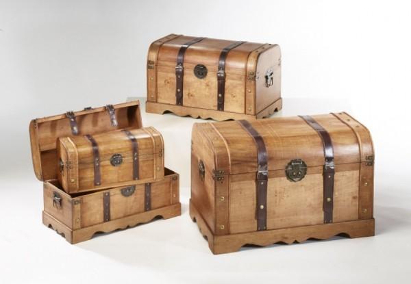 Antigua Holztruhe braun 4er Set