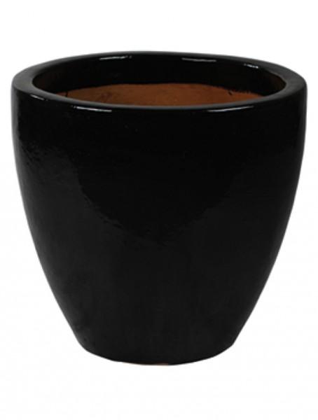Casa Couple Pflanzkübel - Schwarzglanz Keramik
