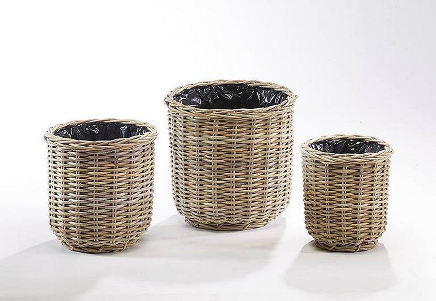 bertopf rund aus rattan kubo grey terrapalme heim und gartenshop. Black Bedroom Furniture Sets. Home Design Ideas