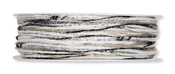 Kordelband Materialmix schwarz-weiß 3 mm - 15 m