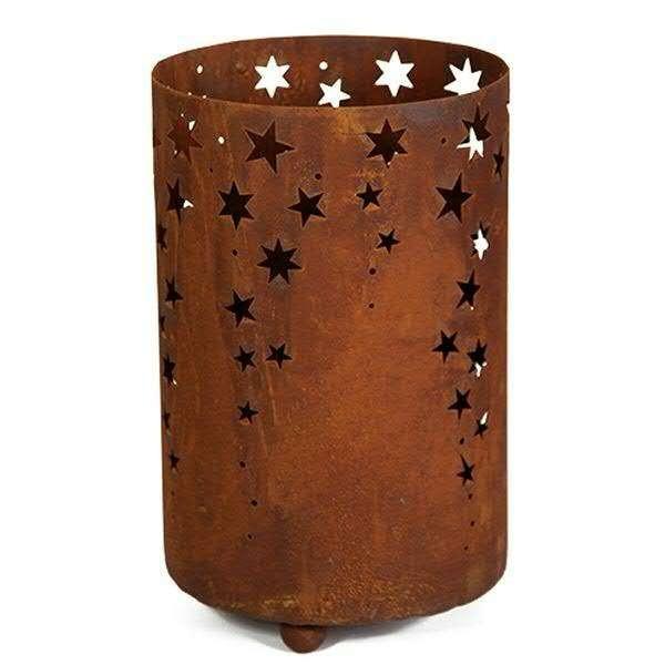 Rostmetall Sternenregen Windlicht 22 cm