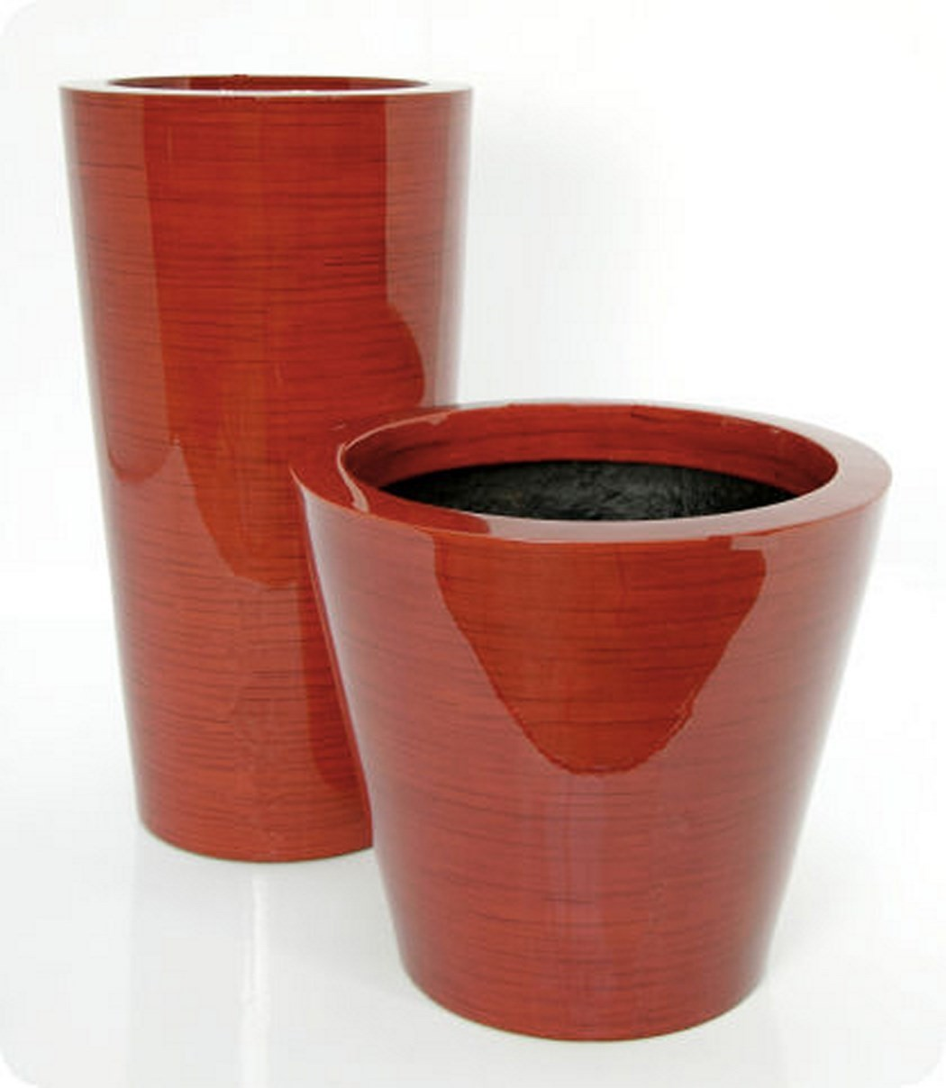 Krappa Bamboo Pflanzgefäß   Hochglanz Rot