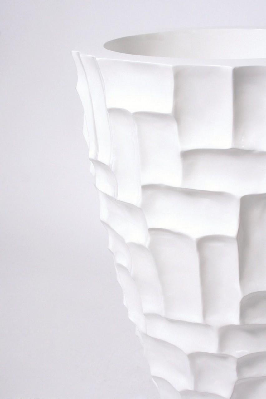 Mosaic weiß | Kunstharz Pflanzvase