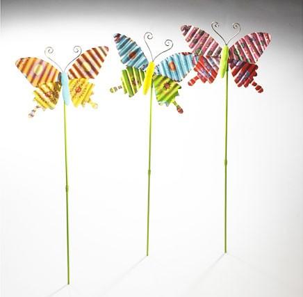 Sokilas 3er Set | Deko-Schmetterling auf Stab aus Metall