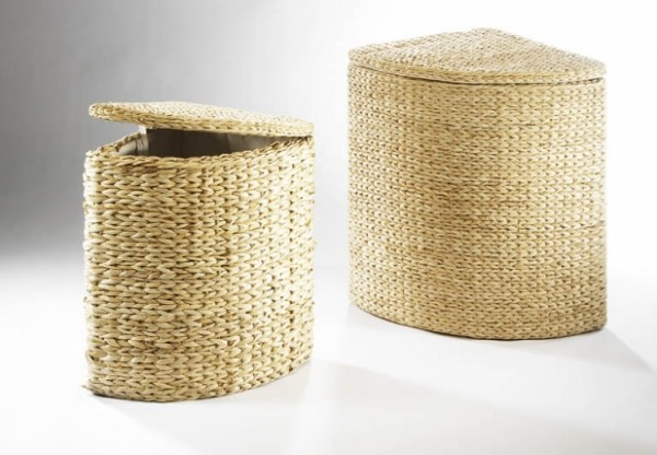 Wäschekorb Juneck Eckwäschebehälter aus Binse 2er Set