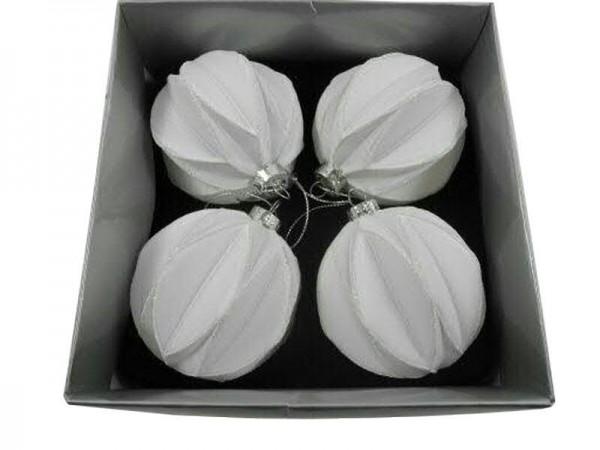 Glas Weihnachtskugeln Origami Weiss