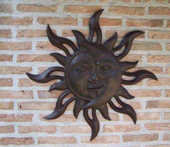 Sonnenmond 75 cm zum aufhängen aus Bronze