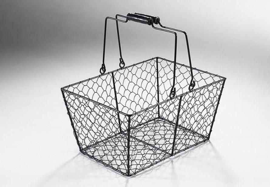 albert schwarzer drahtkorb eckig aus metall mit henkel terrapalme heim und gartenshop. Black Bedroom Furniture Sets. Home Design Ideas