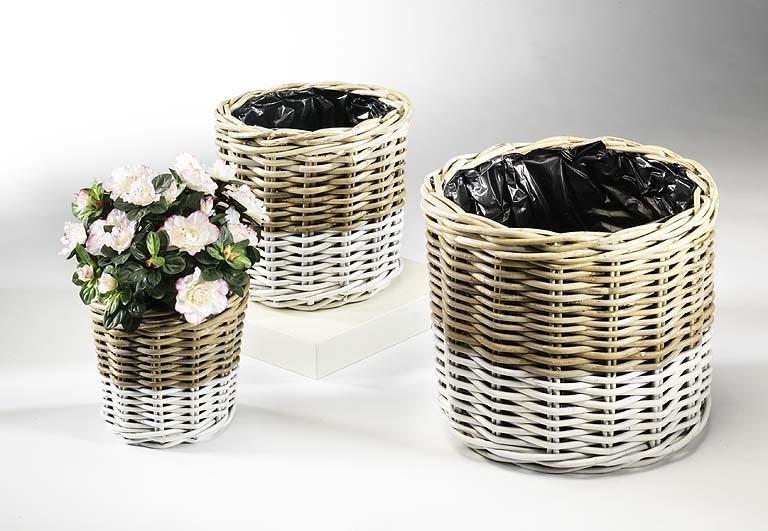 bertopf aus rattan rund grau wei 3er set pflanzk rbe korbwaren terrapalme heim und. Black Bedroom Furniture Sets. Home Design Ideas