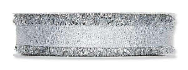 Lurexband silber mit Fransenkante 23 mm - 20 m