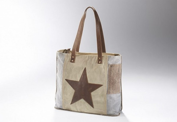 Brown Star - Canvas Vintage Tasche mit Lederhenkel