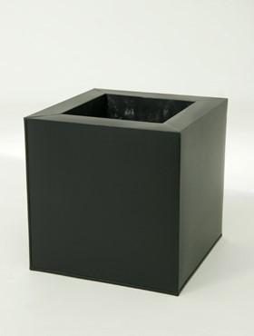 Zink Look Cube Pflanzkübel schwarz