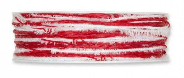 Kordelband Materialmix rot-weiß 6 mm - 15 m drahtverstärkt