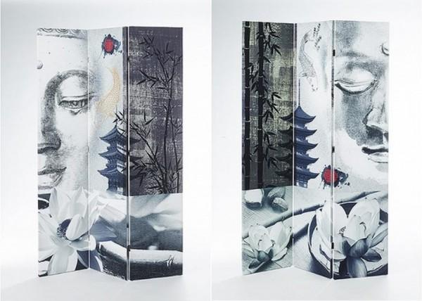 Canvas Paravent 3-tlg mit Holzrahmen