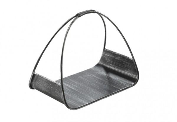 Schwarze Holztrage aus Metall