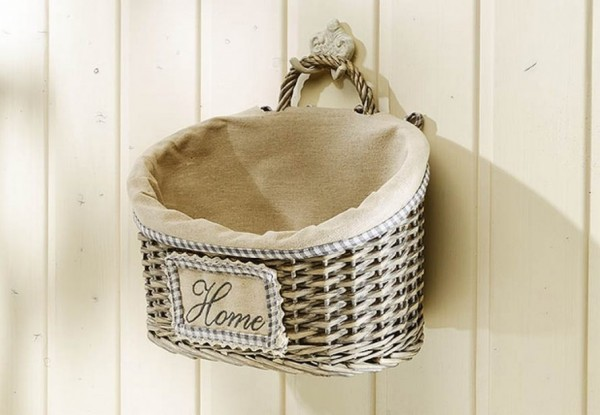 Wandkorb Home oval Weide grey-washed