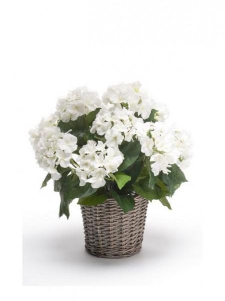 Hortensien Kunstblumenbusch im Korb