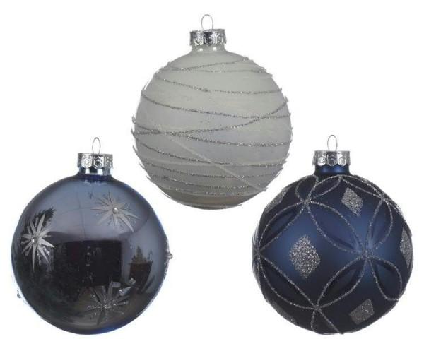 Glas blau & weiß Weihnachtskugeln Schnee