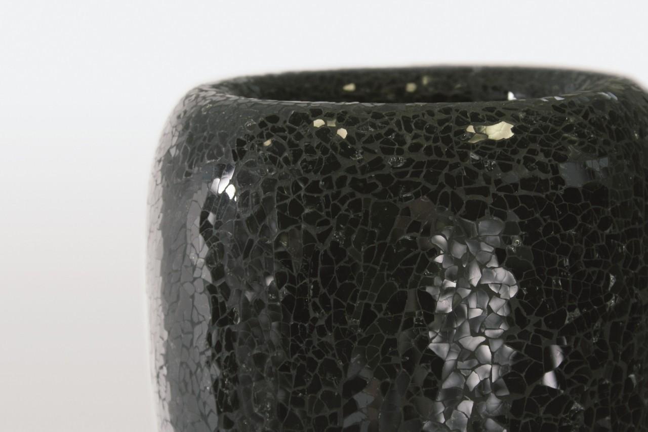One Black   Glasmosaik Pflanzvase