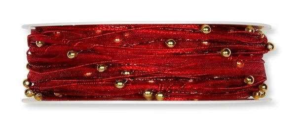 Kordelband rot mit Perlenkette gold 5 mm - 15 m