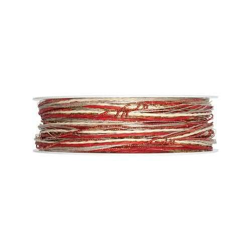 Kordelband Materialmix rot-braun 3 mm - 15 m drahtkverstärkt