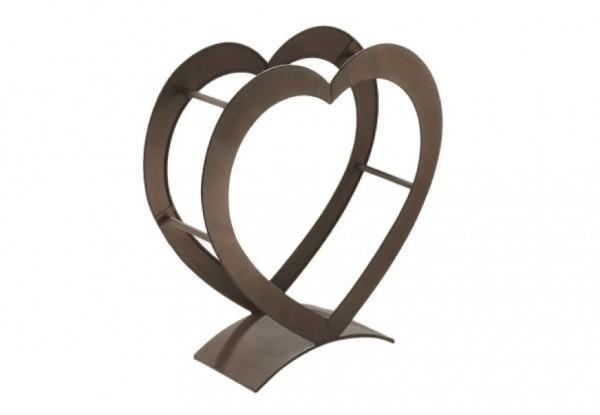 Heart Kaminholzregal aus Metall antikbraun