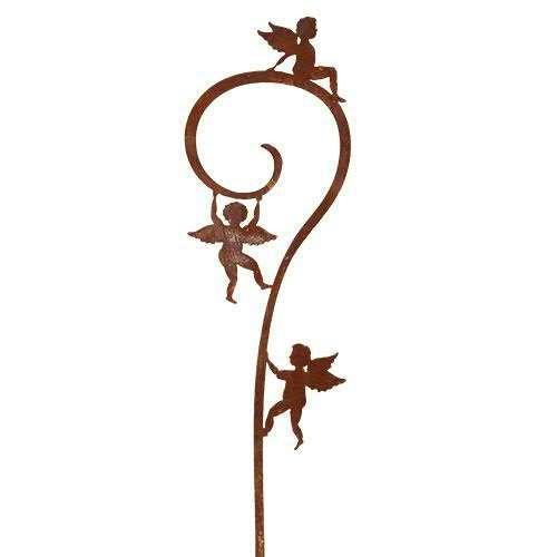 Rostmetall Gartenstecker 150 cm mit drei Engeln