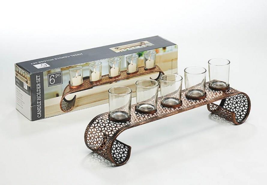 bridge kerzenhalter aus metall mit 5 gl sern terrapalme heim und gartenshop. Black Bedroom Furniture Sets. Home Design Ideas