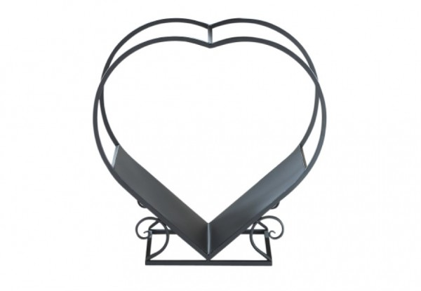 Heart Kaminholztrage schwarz aus Metall
