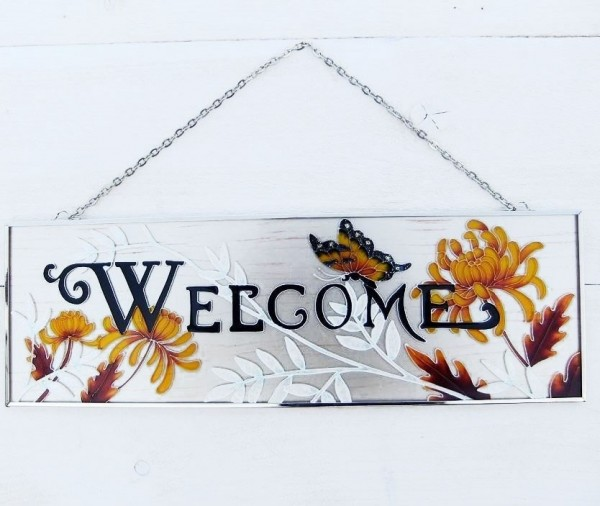 Welcome Wandhänger | Blumenmotiv Tiffany Glasfenster