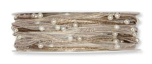 Kordelband Naturmix mit Perlen 5 mm - 15 m drahtkverstärkt