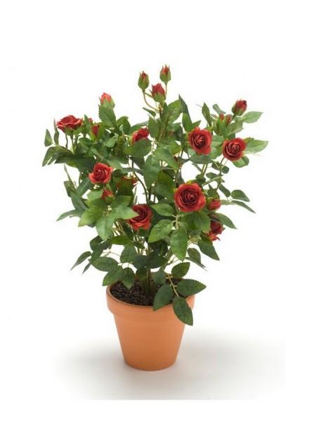 Rosenbusch Kunstpflanze im Tontopf