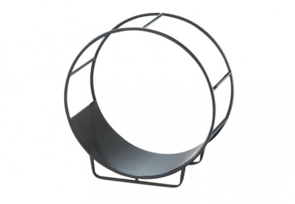 Circle Kaminholztrage schwarz aus Metall