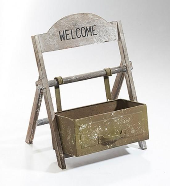 Welcome  Blumenbank aus Holz und Metall