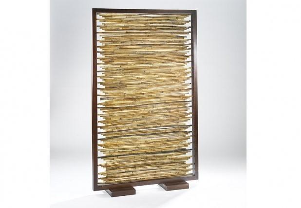 Paravent mit 24 bilderrahmen holz terrapalme heim und - Paravent bambus ...