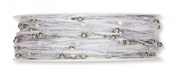 Kordebland silber mit Perlenkette 5 mm - 15 m