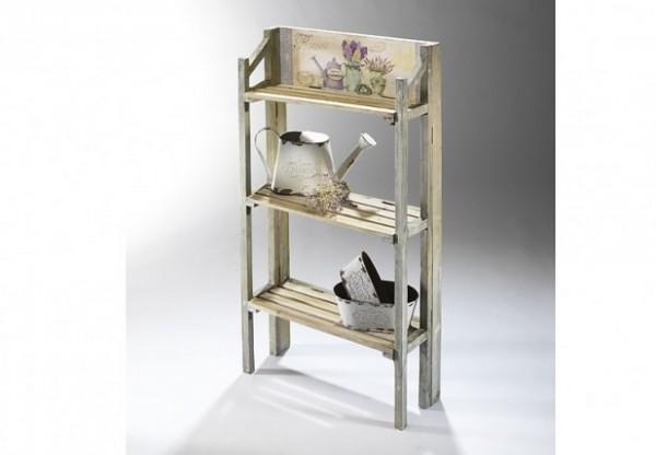 Provence Deko Holz-Wandregal mit 3 Ablagen