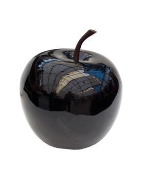 Apfel schwarz - apple fruit ein Kunstobjekt aus Fiberglas und Steinpulver