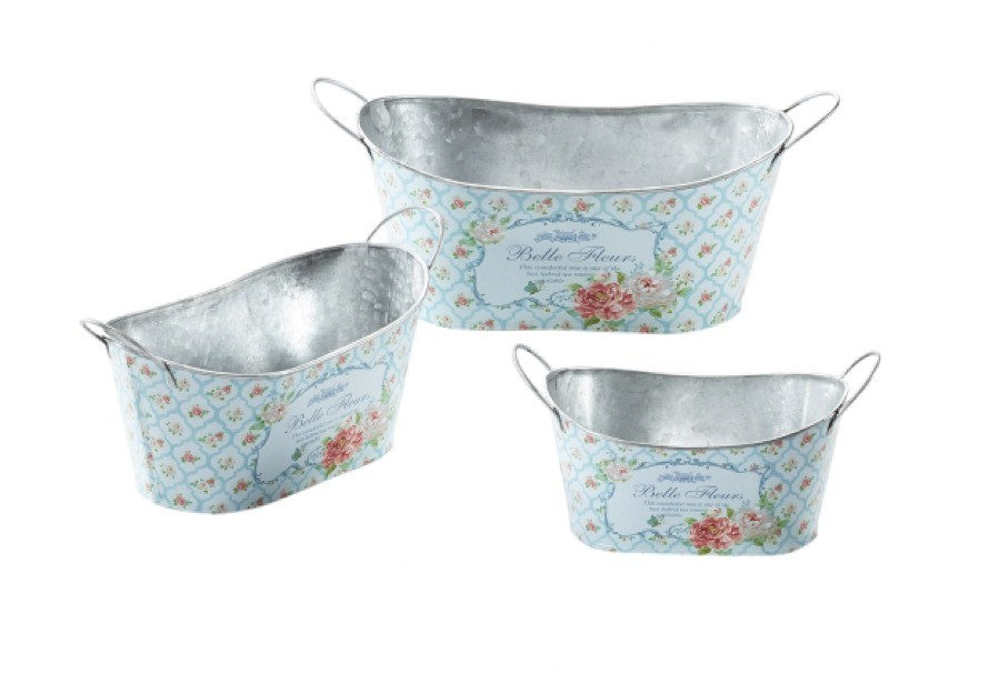 Belle fleurs pflanzschale oval mit griffen 3er set for Dekoartikel metall