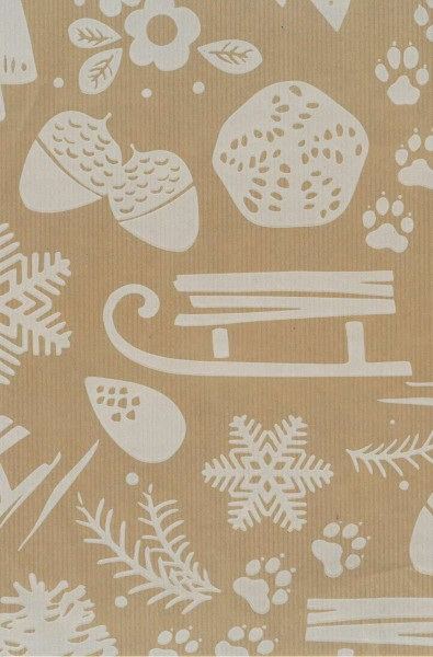 Natron Schlitten Weihnachtspapier braun-weiß