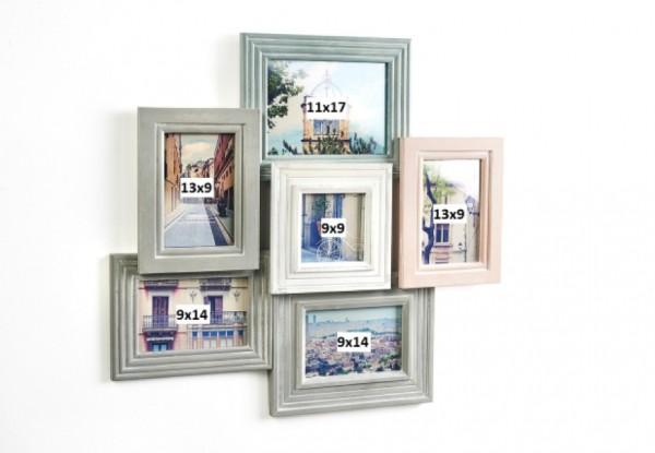 Pastell Collage - Holz Bilderrahmen für 6 Bilder