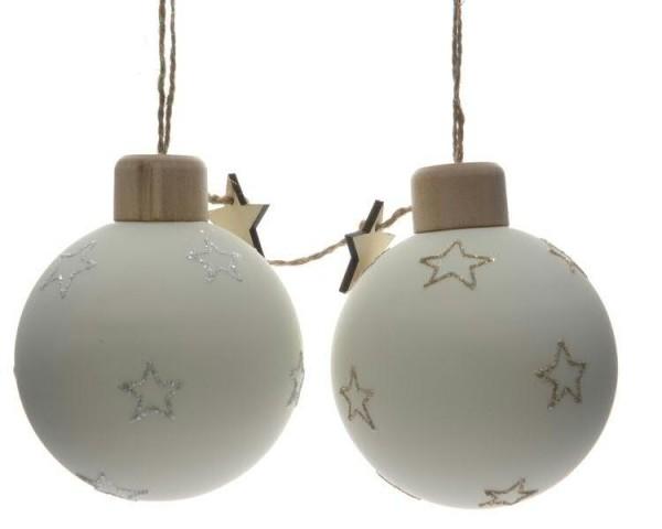 Glas Weihnachtskugeln weiß mit Sternanhänger und Holzkappe