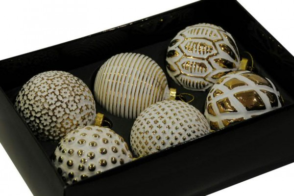 Glas Weihnachtskugeln Oris weiß-gold